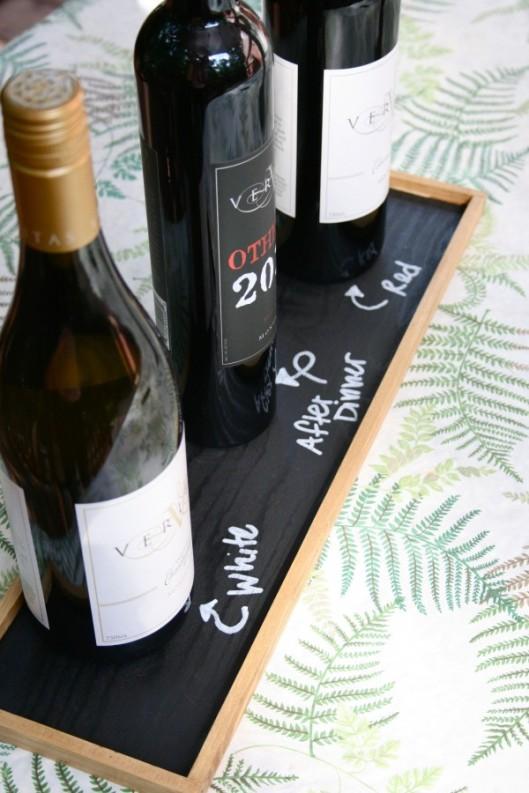 DIY Chalk Board Wine Tray