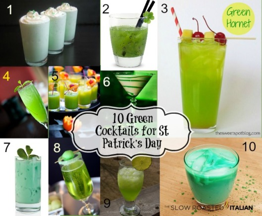 Ten Green Cocktails Collage